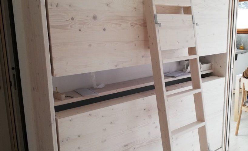 Actualité Baima : Lit escamotable superposé bois brossé blanchi